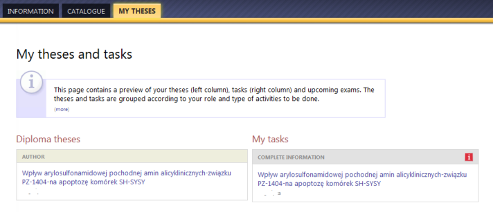 My theses and tasks