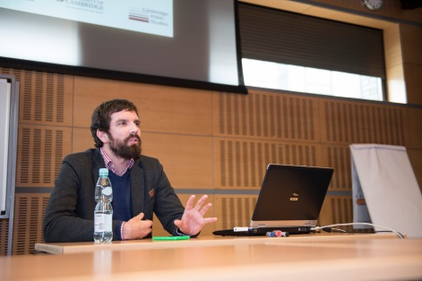 Dr Stanley Bill explaining how to create Polish Studies at Cambridge University